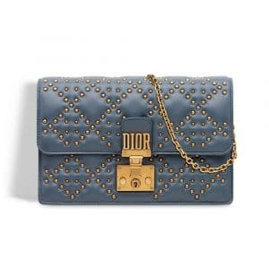 Dior Blue-Grey Studded Dioraddict Wallet on Chain Pouch Bag
