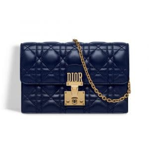 Dior Indigo Blue Dioraddict Wallet on Chain Pouch Bag