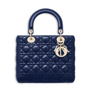 Dior Indigo Blue Lambskin Lady Dior Bag