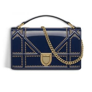 Dior Indigo Blue Studded Glazed Calfskin Diorama Clutch Bag