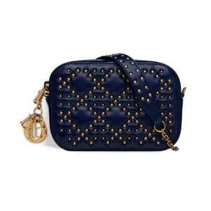 Dior Indigo Blue Studded Lady Dior Camera Case Pouch Bag