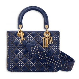 Dior Indigo Blue Studded Supple Lady Dior Bag