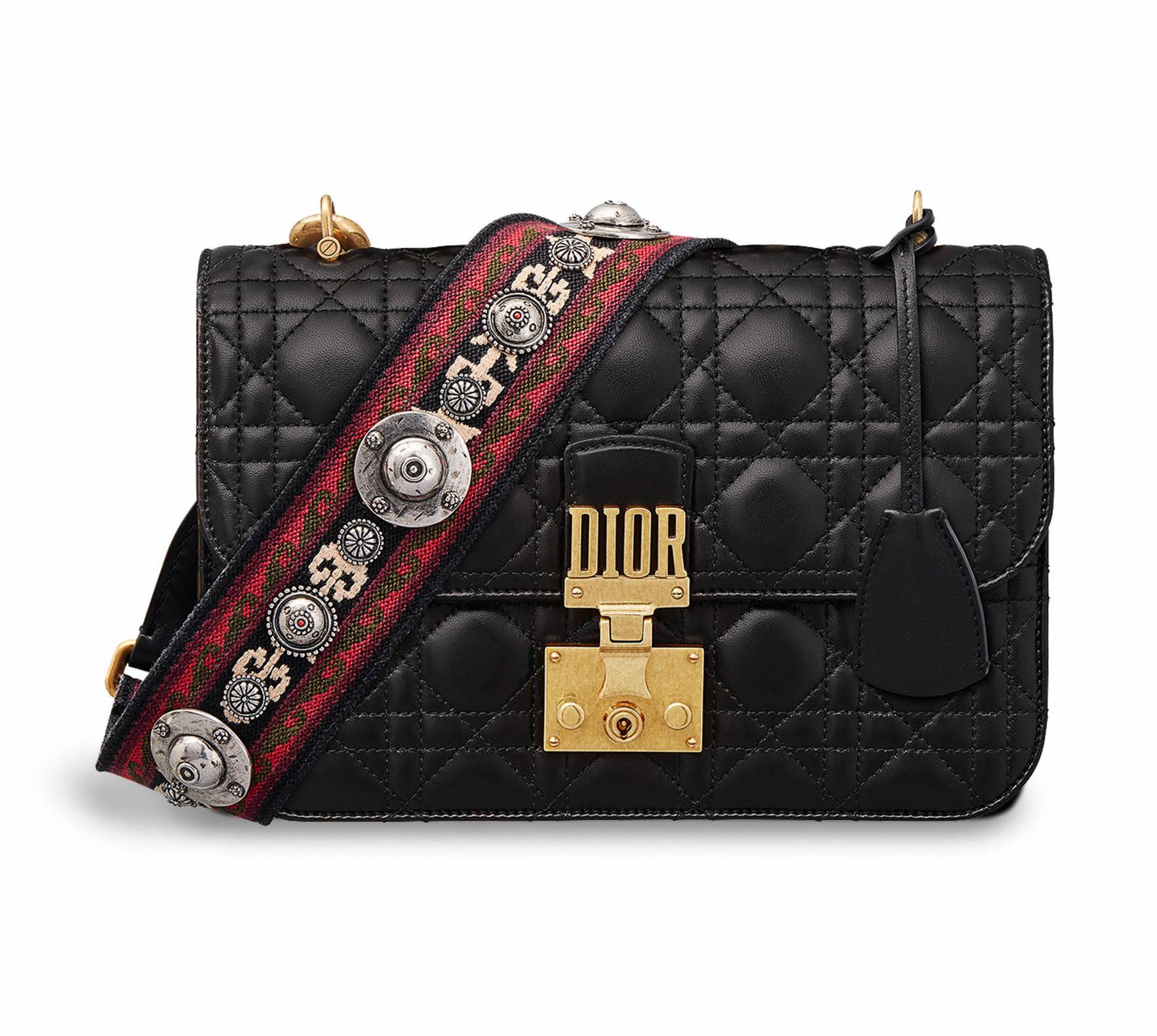 Dior Lambskin Dioraddict Flap Bag with Bohemian Strap