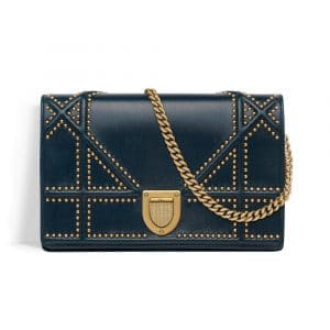 Dior Petrol Blue Studded Diorama Wallet on Chain Pouch Bag