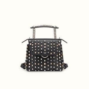 Fendi Black Crystal Embellished Back To School Mini Backpack Bag