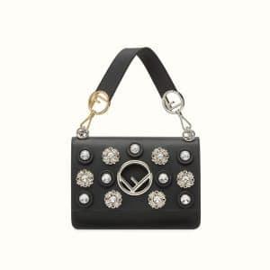 Fendi Black Crystal Embellished Kan I F Bag