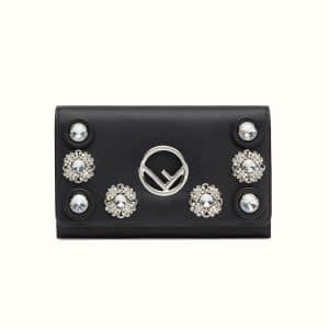 Fendi Black Crystal Embellished Logo Wallet on Chain Bag