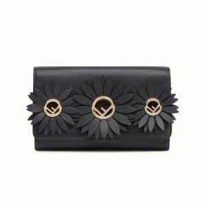 Fendi Black Daisy Embellished Logo Wallet on Chain Bag