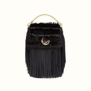Fendi Black Fringed Leather/Mink Micro Baguette Bag