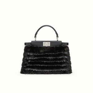 Fendi Black Fringed Mink Peekaboo Mini Bag