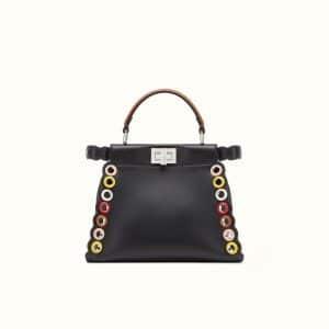 Fendi Black Leather with Grommets Peekaboo Mini Bag