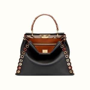 Fendi Black Leather/Elaphe with Grommets Peekaboo Bag