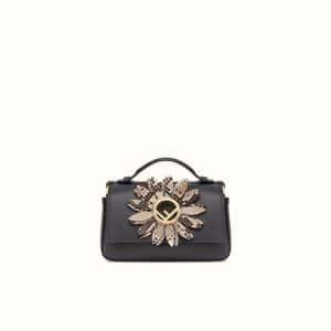 Fendi Black Leather/Python Micro Baguette Bag