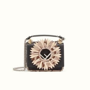 Fendi Black Leather/Python Small Kan I Logo Bag