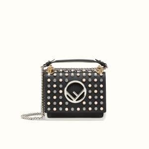 Fendi Black Studded Small Kan I F Bag