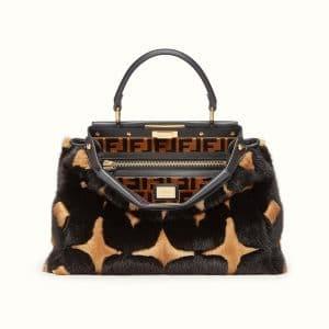 Fendi Black/Beige Geometric Mink Peekaboo Bag