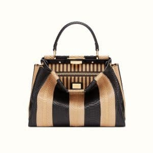 Fendi Black/Beige Pequin Python/Pony-skin Peekaboo Bag