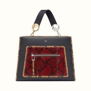 Fendi Black/Red Leather/Python Runaway Bag