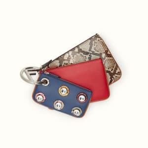 Fendi Black/Red/Blue Python/Leather with Grommets Triplette Pouch Bag
