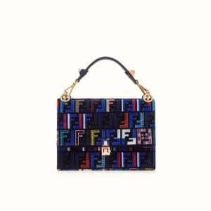 Fendi Blue FF Pattern Leather/Silk Kan I Bag