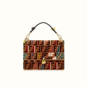 Fendi Brown FF Pattern Leather/Silk Kan I Bag