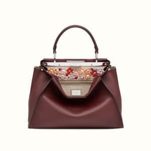Fendi Burgundy Floral Embellished Peekaboo Bag