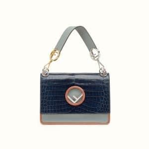 Fendi Dark Blue/Seaweed Crocodile Kan I F Bag