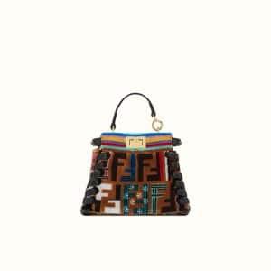 Fendi Multicolor FF Embroidered Leather/Silk Peekaboo Micro Bag