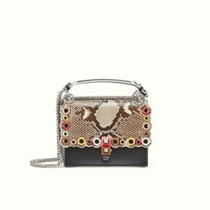 Fendi Multicolor Python with Grommets Small Kan I Bag