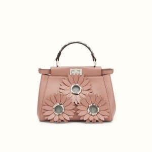 Fendi Pink Floral Embellished Leather/Elaphe Peekaboo Mini Bag