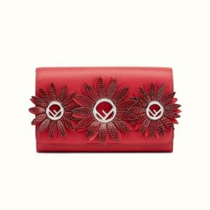 Fendi Red Exotic Daisy Embellished Logo Wallet on Chain Bag