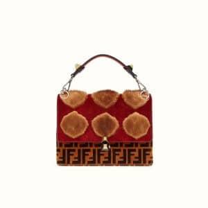 Fendi Red FF Pattern Leather/Mink Kan I Bag