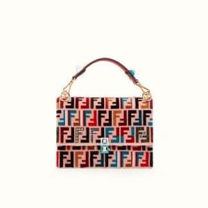 Fendi Red FF Pattern Leather/Silk Kan I Bag