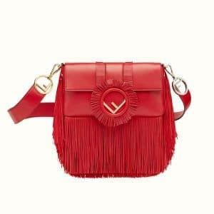 Fendi Red Fringed Baguette Bag