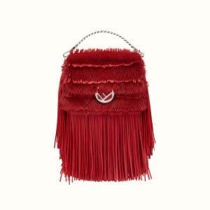 Fendi Red Fringed Leather/Mink Micro Baguette Bag