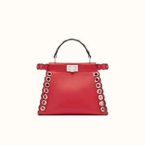 Fendi Red Leather/Elaphe with Grommets Peekaboo Mini Bag