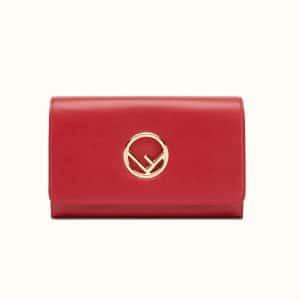 Fendi Red Logo Wallet on Chain Bag