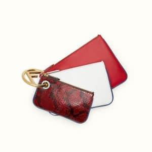 Fendi Red/White Python/Leather Triplette Pouch Bag