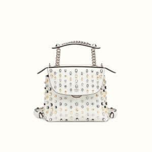 Fendi White Crystal Embellished Back To School Mini Backpack Bag