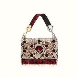 Fendi White/Dark Red Python with Grommets Kan I F Bag