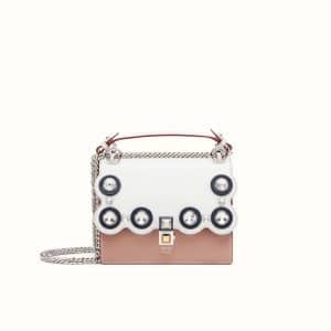 Fendi White/Pink Embellished Small Kan I Bag