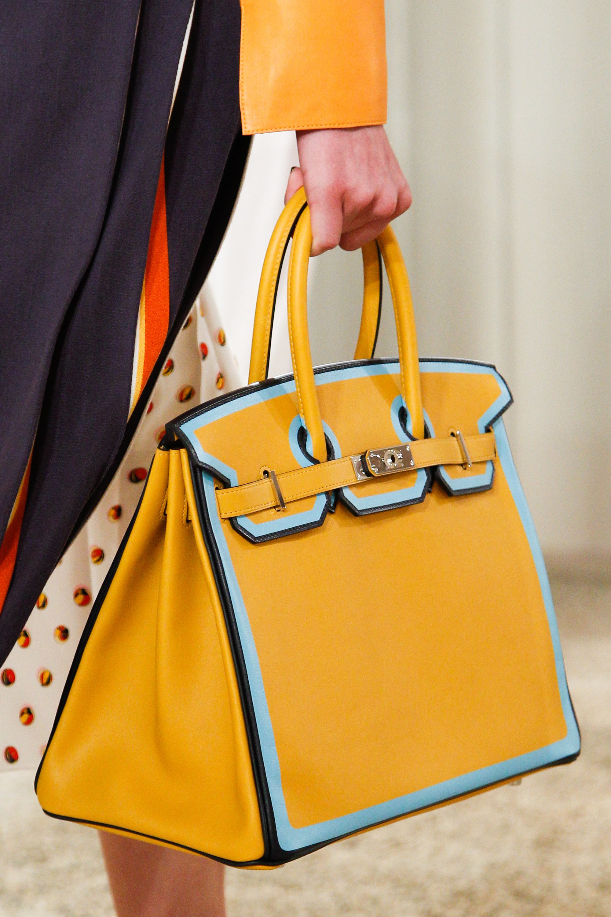 Hermes Yellow With Blue Piping Birkin Bag 2 Resort 2018