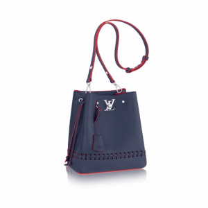 Louis Vuitton Marine Rouge Braided Lockme Bucket Bag