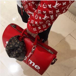 Louis Vuitton x Supreme Red Epi Keepall Bandouliere 45 Bag 4