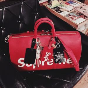Louis Vuitton x Supreme Red Epi Keepall Bandouliere 45 Bag 5