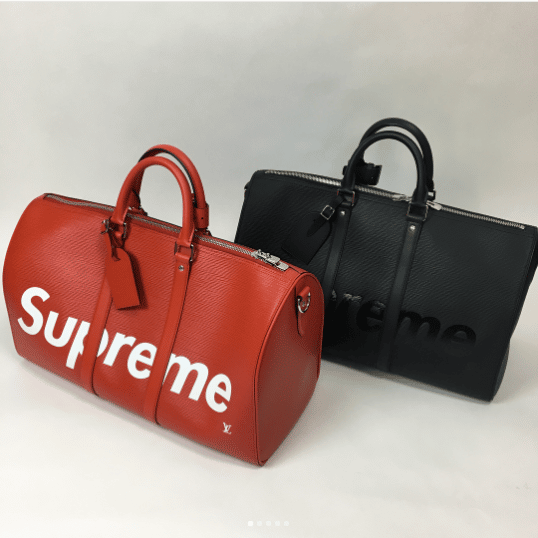 38b10b96a66b Louis Vuitton x Supreme Red and Black Epi Keepall Bandouliere 45 Bags. IG   premiumking