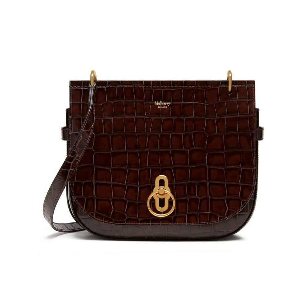 6e28ae9f7a034 Mulberry Brown Croc Print Amberley Satchel Bag