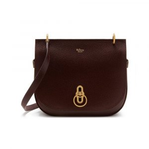 Mulberry Oxblood Natural Grain Leather Amberley Satchel Bag