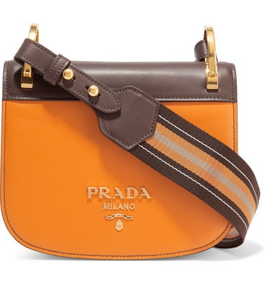 Prada Pionnière Canvas-Trimmed Two-Tone Leather Shoulder Bag