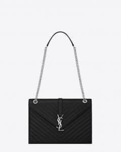 Saint Laurent Black Matelasse Large Envelope Bag
